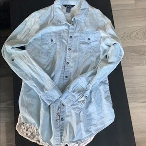 Chambray and lace button up!
